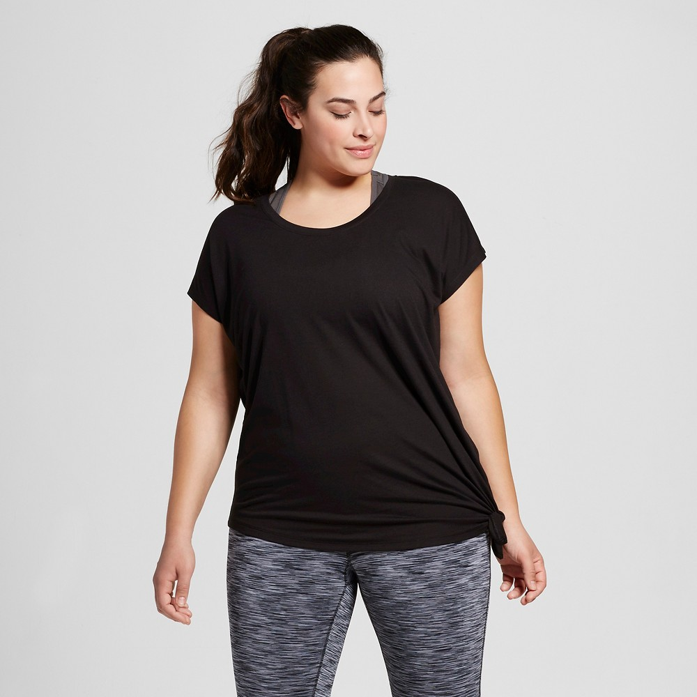 Womens Plus-Size Active Side-Tie T-Shirt - C9 Champion - Black 4X