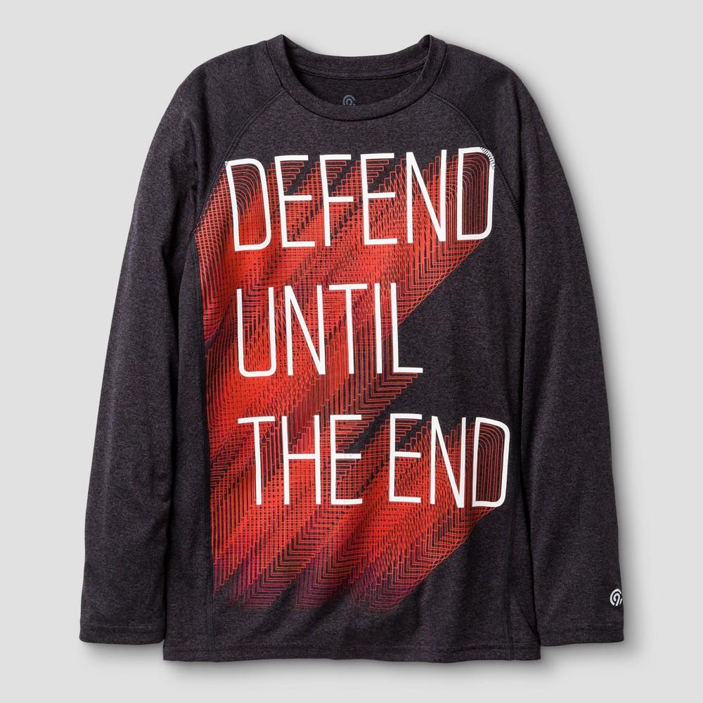 Boys Long Sleeve Graphic Tech T-Shirt Black S C9 Champion - Defend Until The End