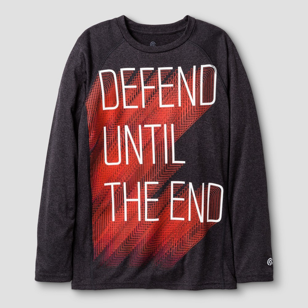 Boys Long Sleeve Graphic Tech T-Shirt Black M C9 Champion - Defend Until The End