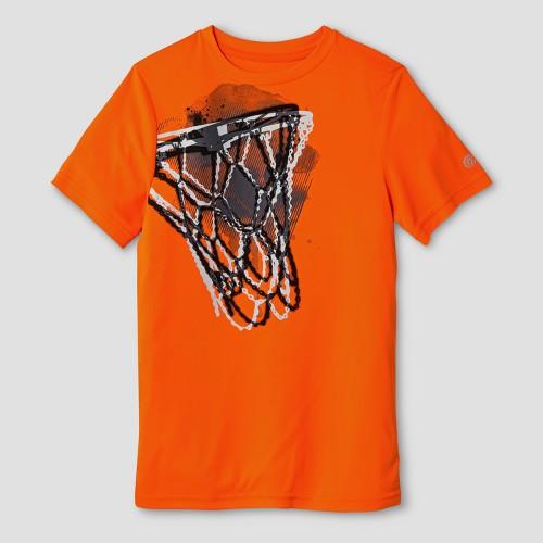 Boys' Graphic Tech T-Shirt Neon Orange XL C9 Champion - Basketball Hoop, Boy's