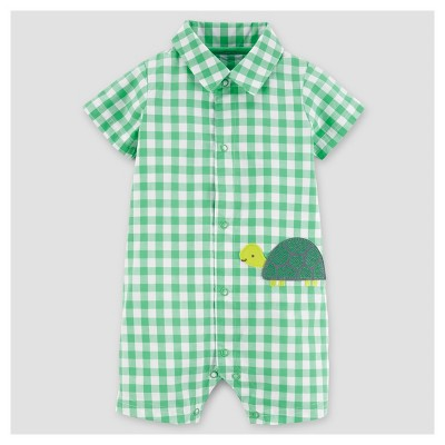 Baby Boys' Gingham Turtle Romper - Just One You™ Made by Carter's® Green 6M