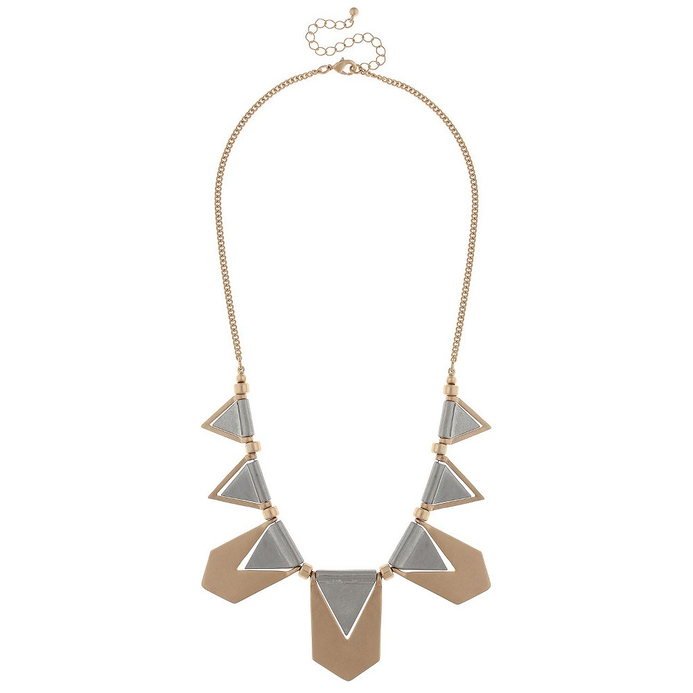Womens Statement Necklace with Metal Arrow Paddles and Triangle Cut Outs- Multi, Multi-Colored