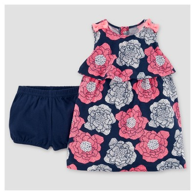 Baby Girls' Flower Dress - Just One You™ Made by Carter's® Navy/Pink NB