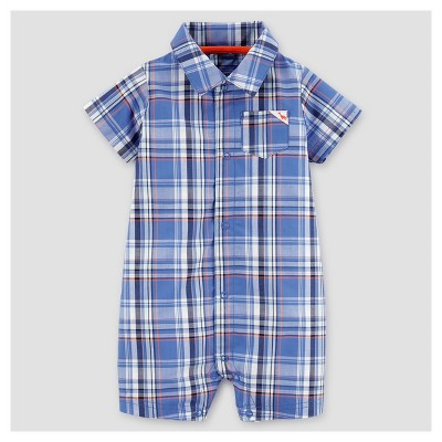 Baby Boys' Plaid Romper - Just One You™ Made by Carter's® Blue/Red 3M