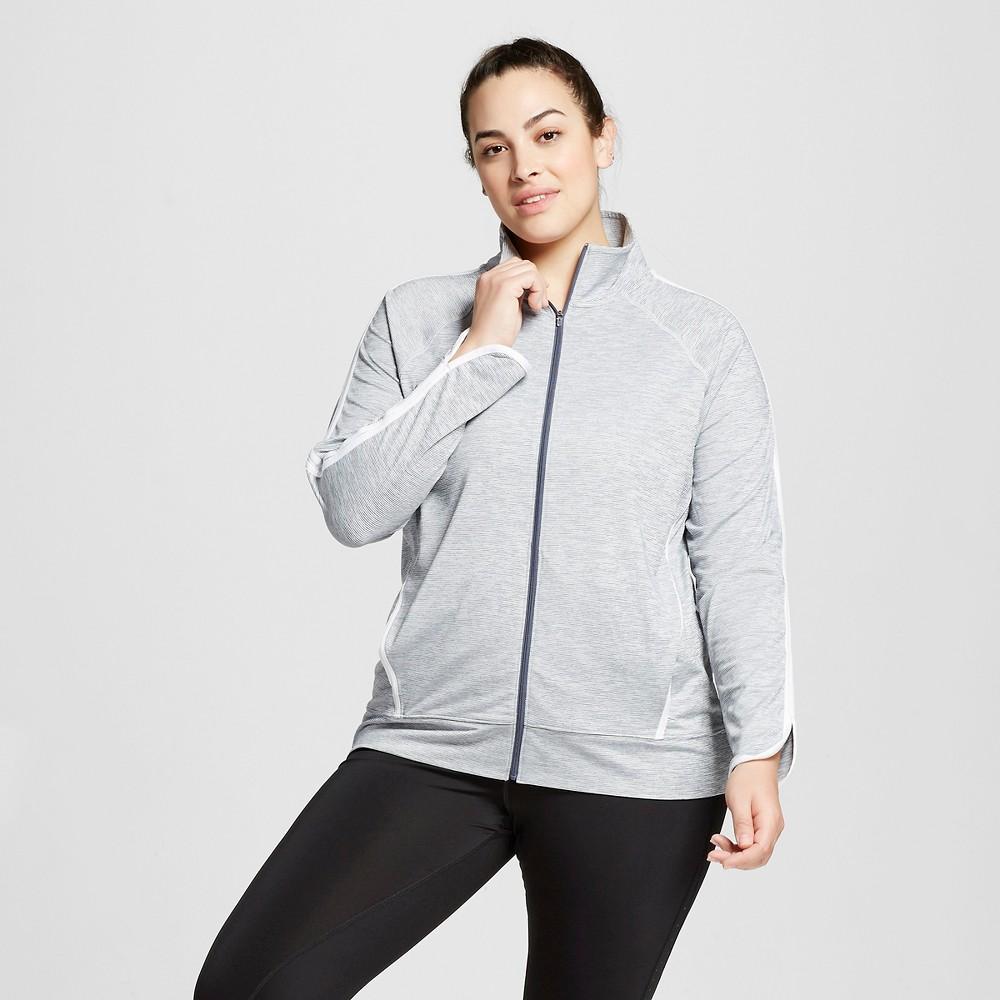 Womens Plus-Size Track Jacket Military - C9 Champion Blue Mini Stripe 1X