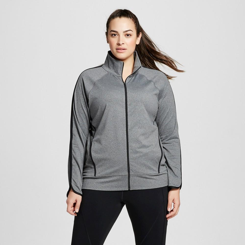 Womens Plus-Size Track Jacket - C9 Champion Black Heather 2X