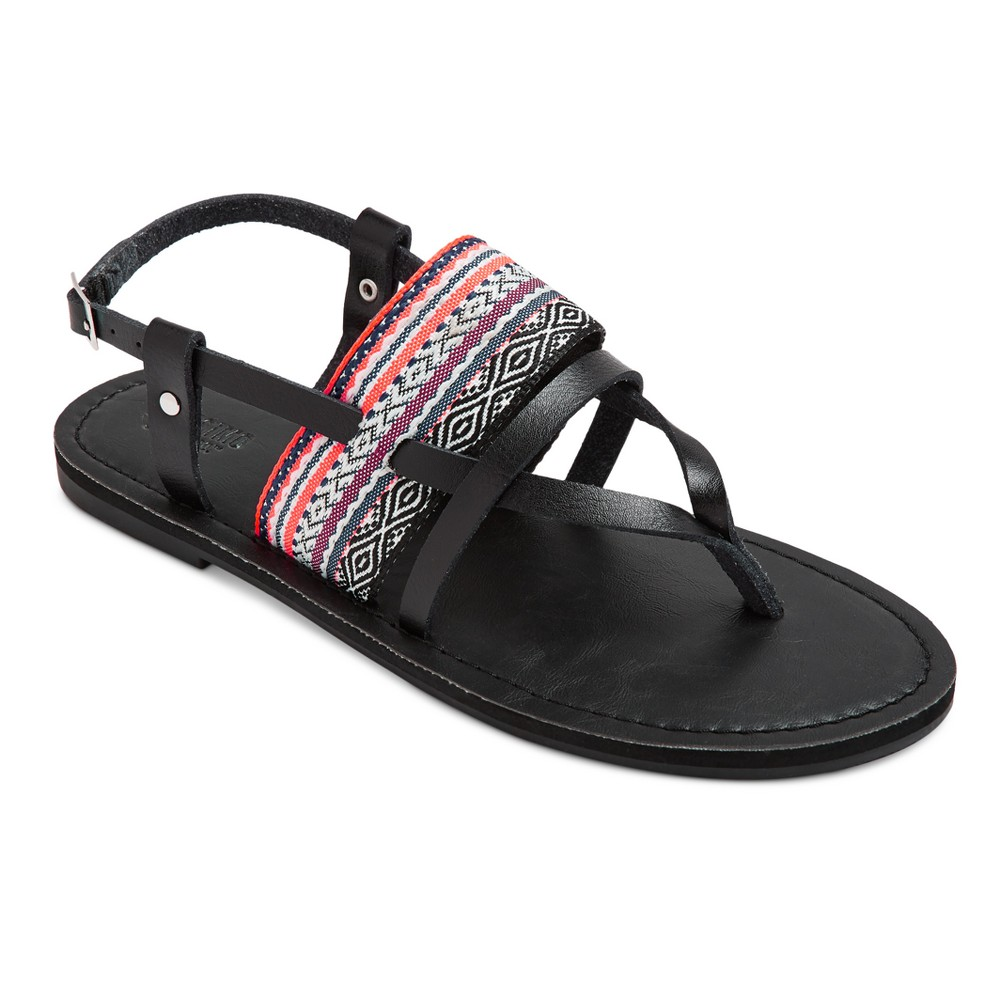 Womens Sonora Thong Sandals - Mossimo Supply Co. Black/Coral 6.5, Black/Pink