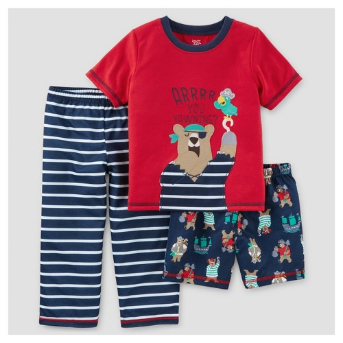 Toddler Boys' 3-Piece Pajama Set Pirate Bear 2T - Just One You Made by Carter's, Toddler Boy's, Red