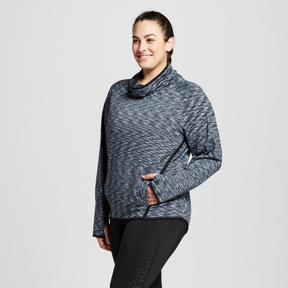 Womens Plus-Size Fleece Pullover - C9 Champion Indigo Spacedye 2X, Indigo Screen