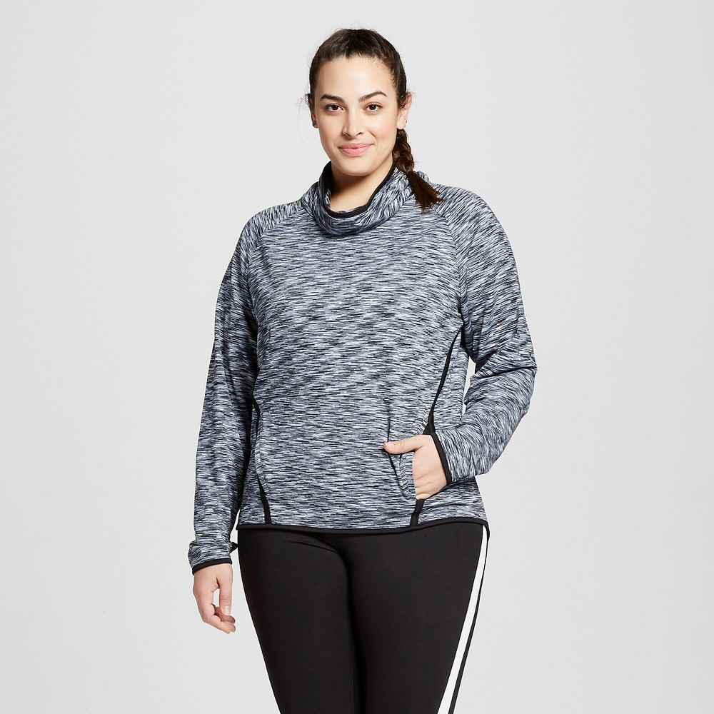 Womens Plus-Size Fleece Pullover - C9 Champion Gray Spacedye 3X