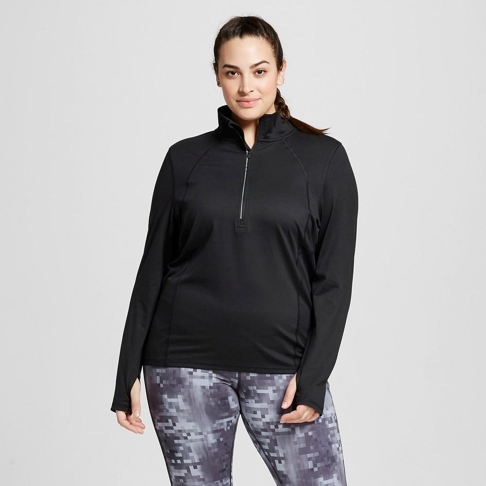Womens Plus-Size Run 1/2 Zip Pullover - C9 Champion Black 1X