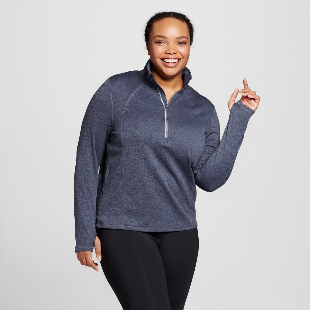 Womens Plus-Size Run 1/2 Zip Pullover - C9 Champion Military Blue Heather 2X