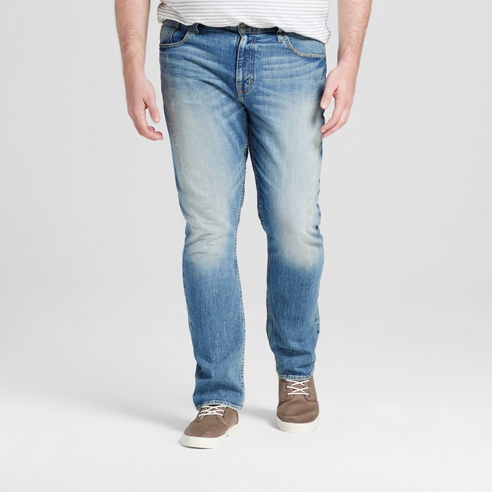 Mens Big & Tall Slim Fit Jeans - Mossimo Supply Co. Light Vintage Wash 44x32, Blue