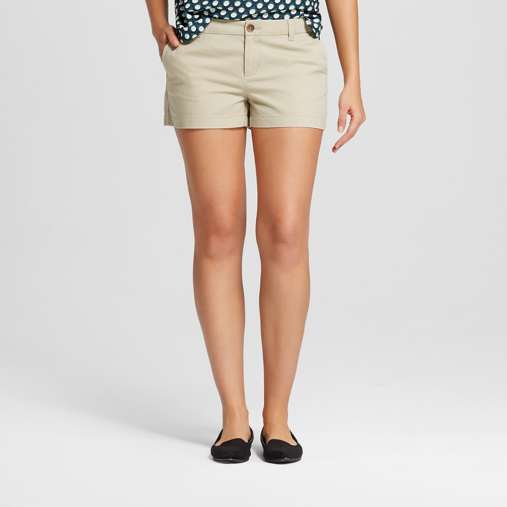 Womens 3 Chino Shorts Khaki (Green) 4 - Merona