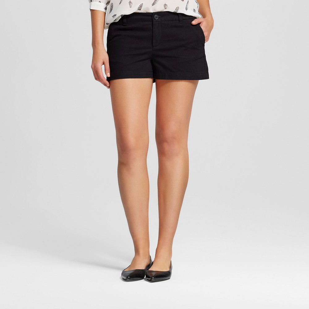Womens 3 Chino Shorts Black 12 - Merona