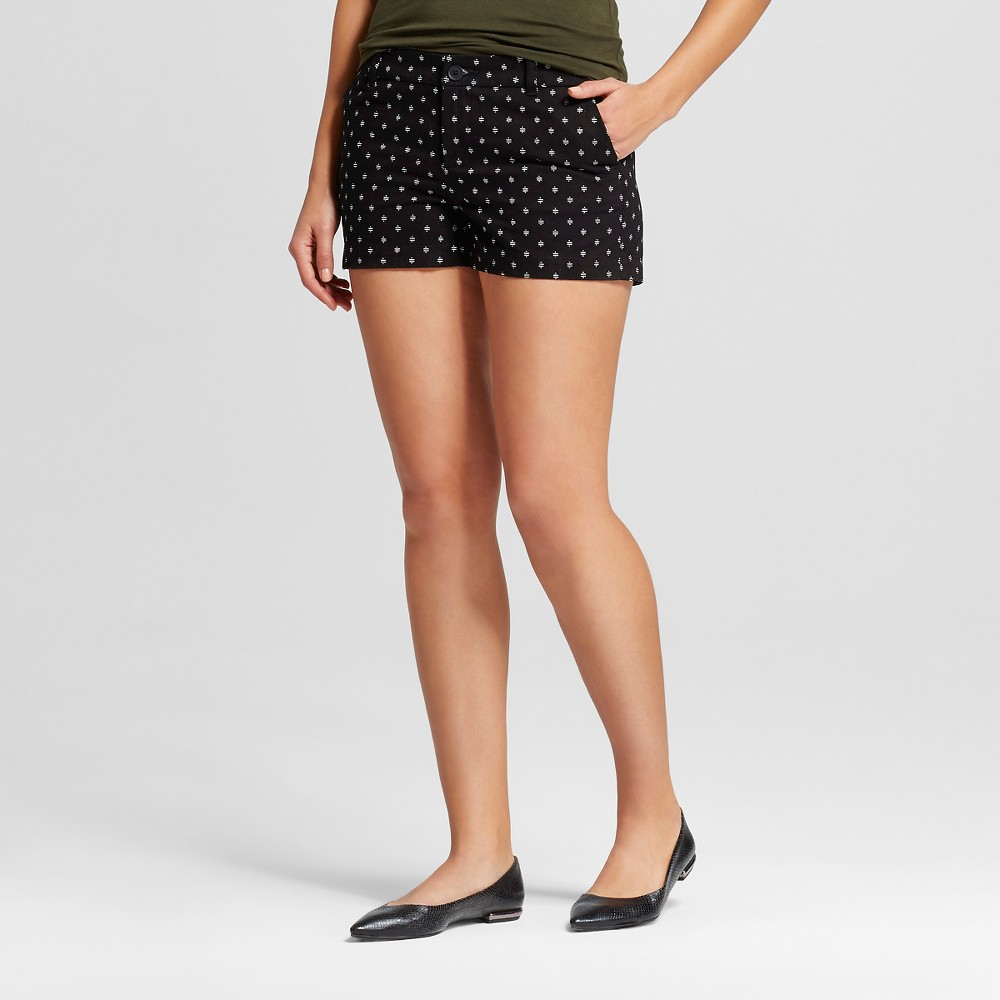 Womens 3 Printed Chino Shorts Black 12 - Merona
