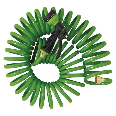 Orbit 27872 50-Foot Green Coil Hose & 8-Pattern Turret Nozzle