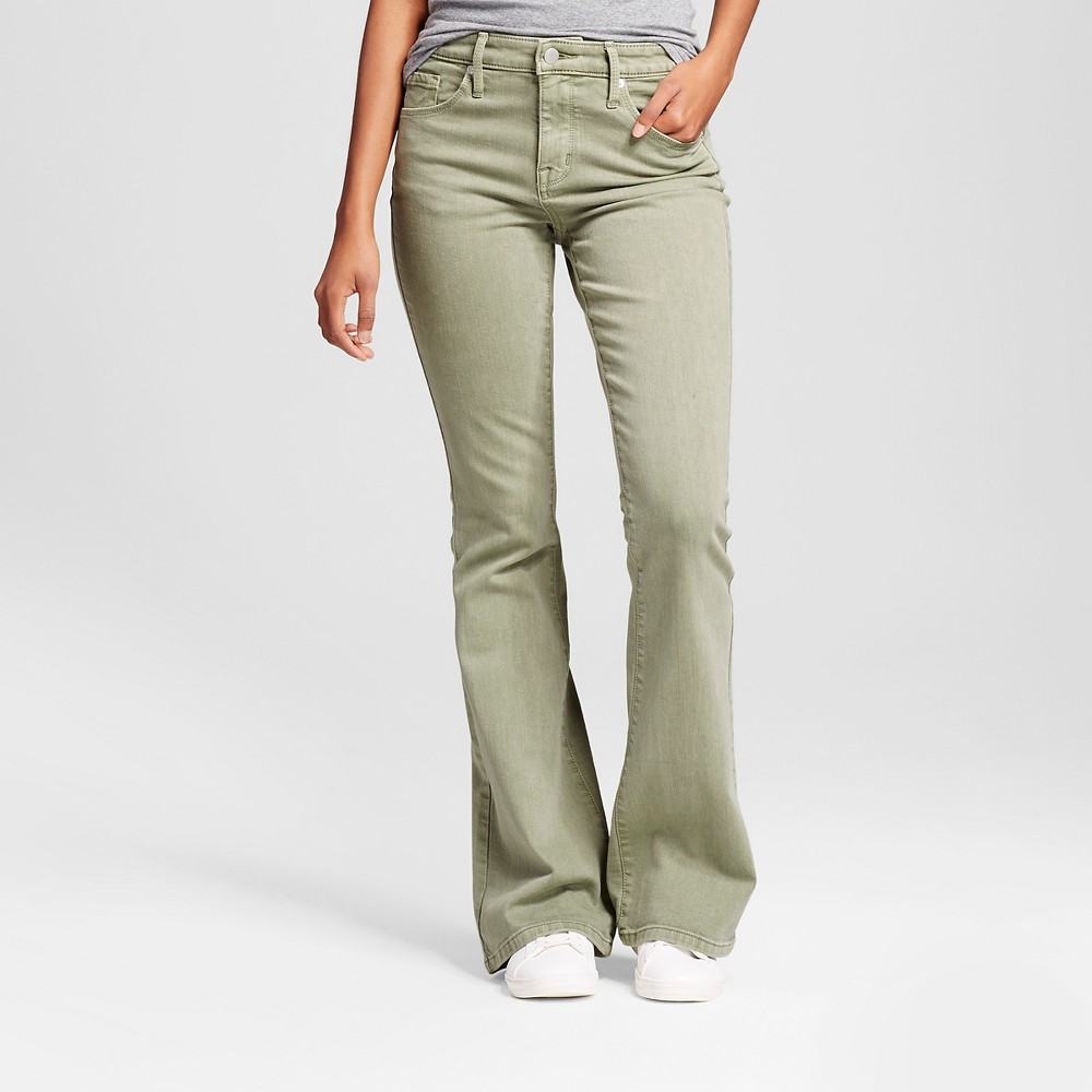 Womens High Rise Flare Jeans - Mossimo Green 2L, Size: 2 Long