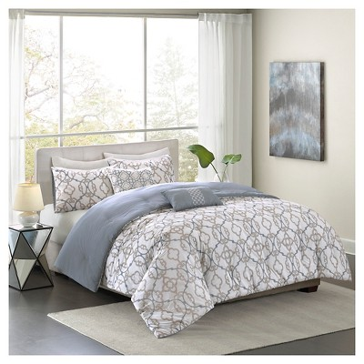 ruby geometric trellis cotton comforter set 5piece