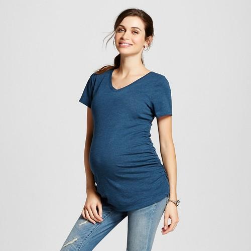 Maternity Heathered V-Neck Tee Dark Blue L - Liz Lange for Target, Women's