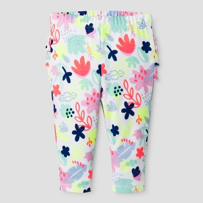 Baby Girls' Ruffle Bum Leggings - Cat & Jack™ White/Floral Print 6-9 M