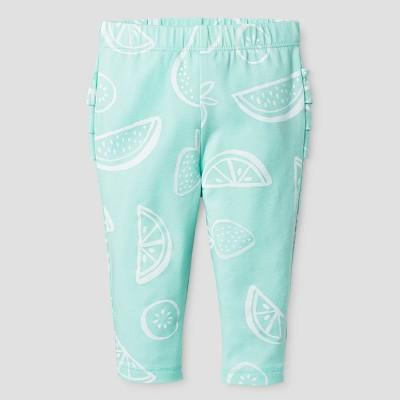 Baby Girls' Ruffle Bum Leggings - Cat & Jack™ Aqua/Fruit Print 0-3 M