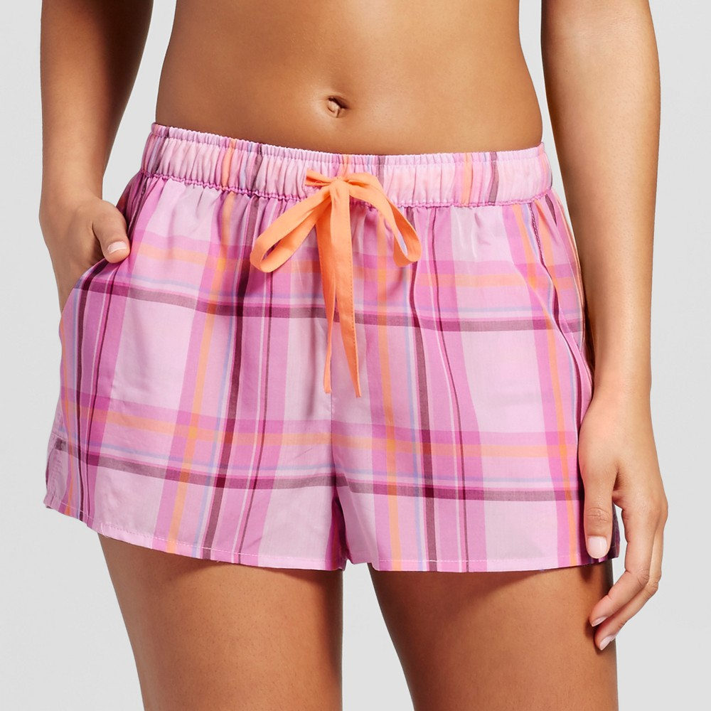 Womens Tencel Plaid Pajama Shorts - Xhilaration Pink M