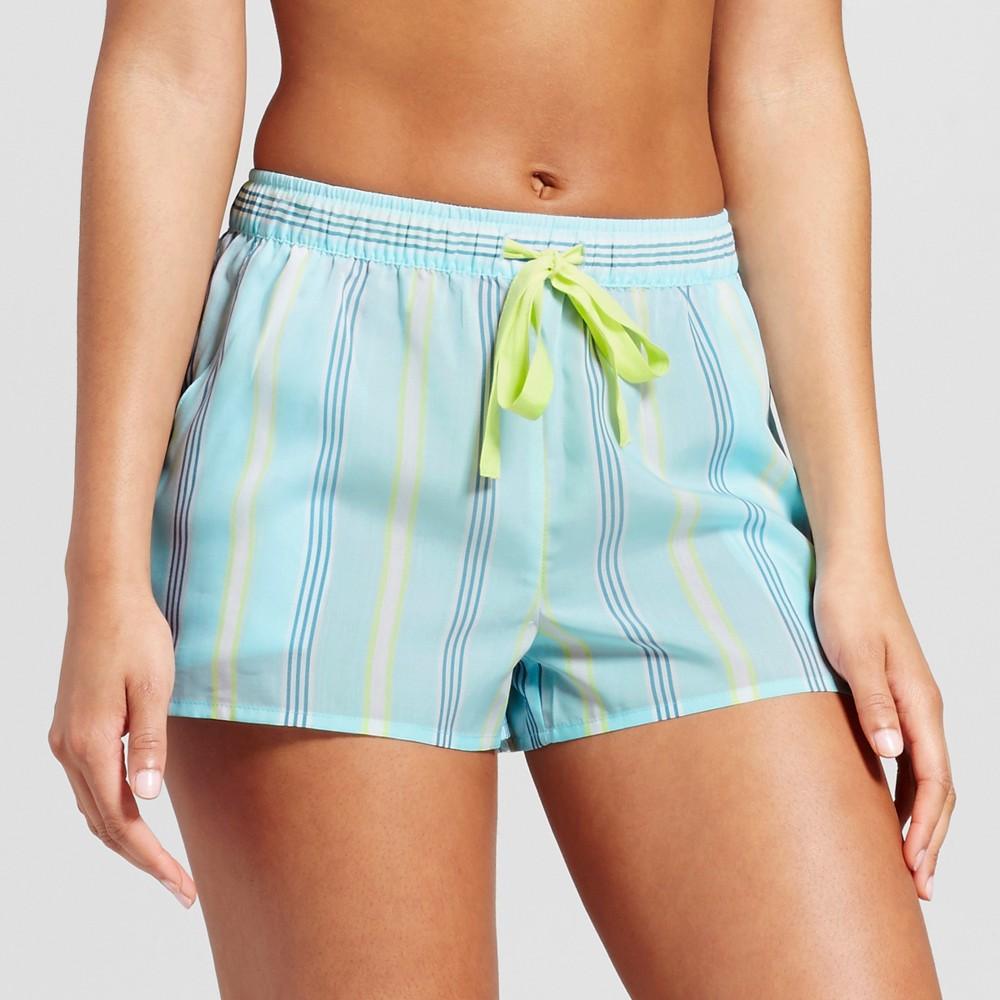 Womens Tencel Stripe Pajama Shorts - Xhilaration Turquoise L, Blue