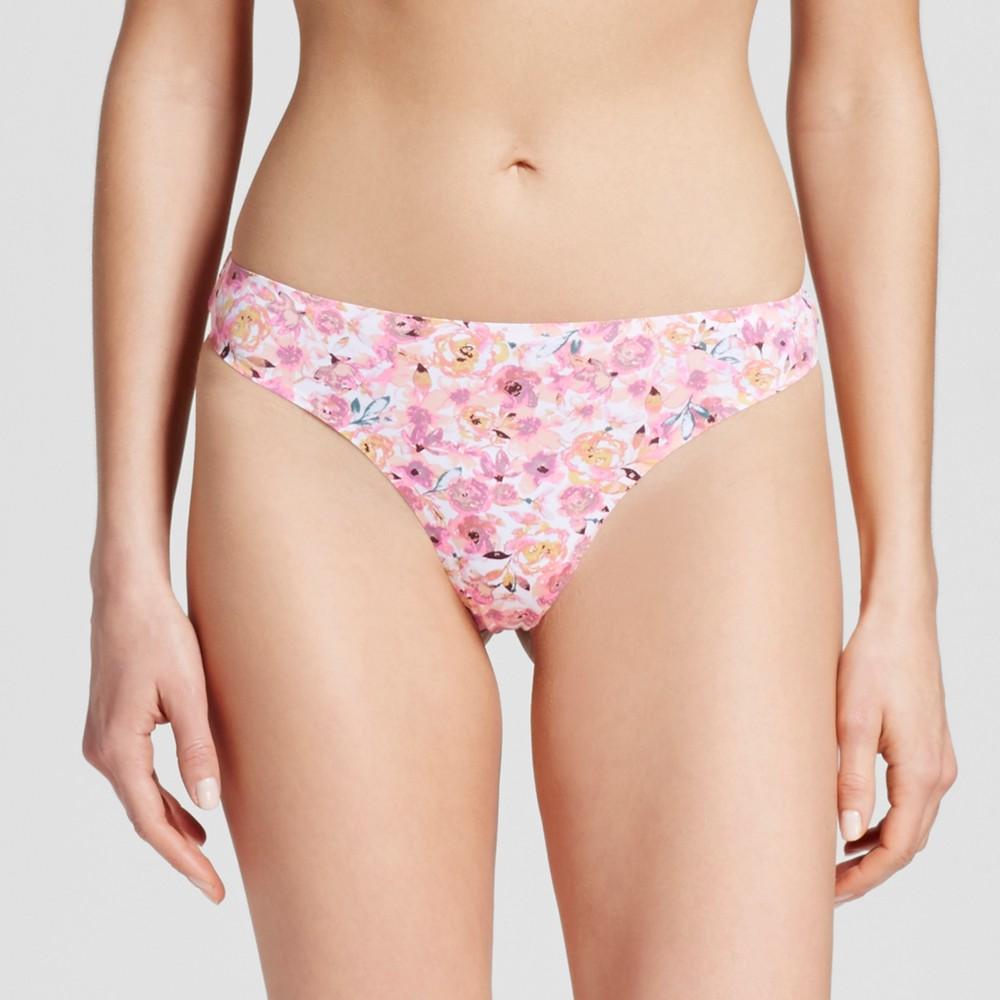 Womens Seamless Bonded Micro Thong - Floral S, Peach Divine