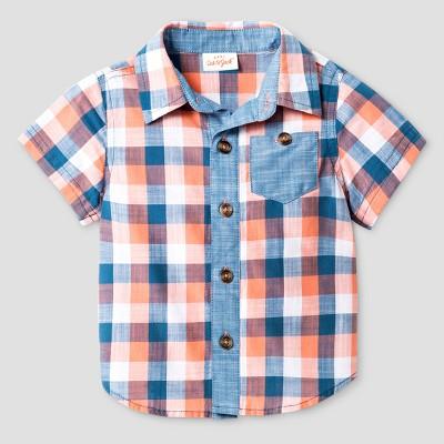 Baby Boys' Short Sleeve Shirt/Denim Jogger Set - Cat & Jack™ Check/Denim 0-3 M
