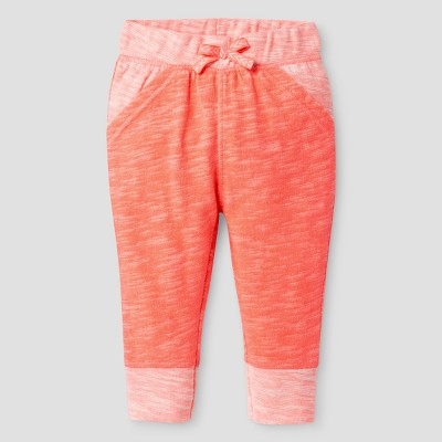 Baby Girls' Texture Jogger Pants - Cat & Jack™ Sunrise Coral 0-3 M
