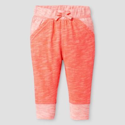 Baby Girls' Texture Jogger Pants - Cat & Jack™ Sunrise Coral 3-6 M