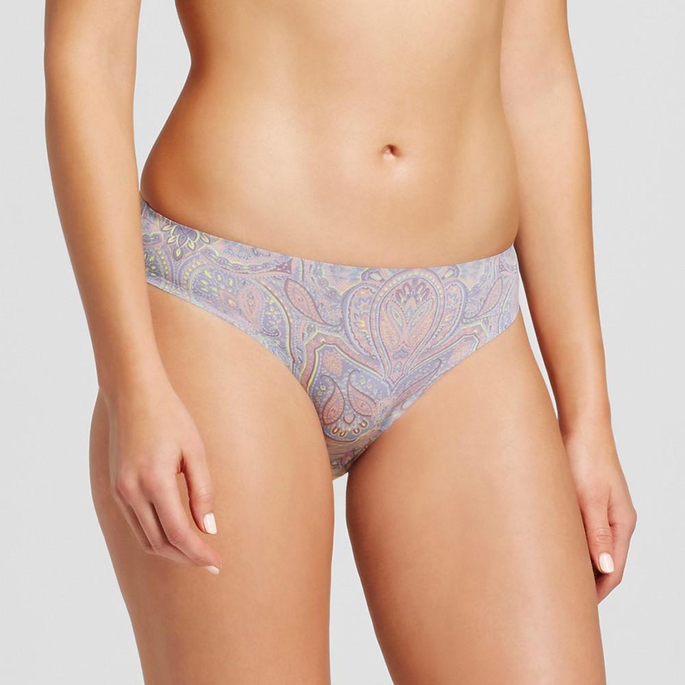 Womens Seamless Bonded Micro Bikini - Misty Blue Paisley L