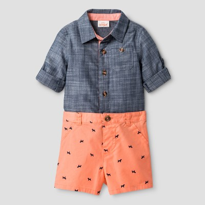 Baby Boys' Woven Shirt/Twill Shorts - Cat & Jack™ Chambray/Desert Flower 0-3 M