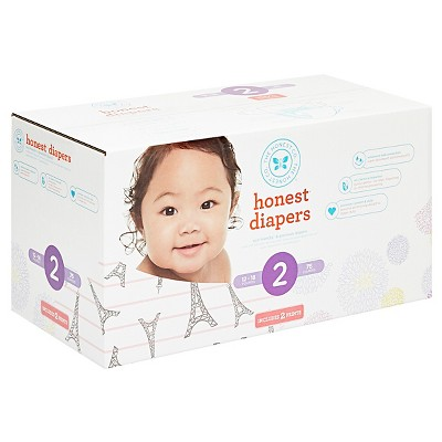 Honest Company Club Pack Diapers, Eiffel Tower Stripe + Bloom - Size 2 (76 ct)