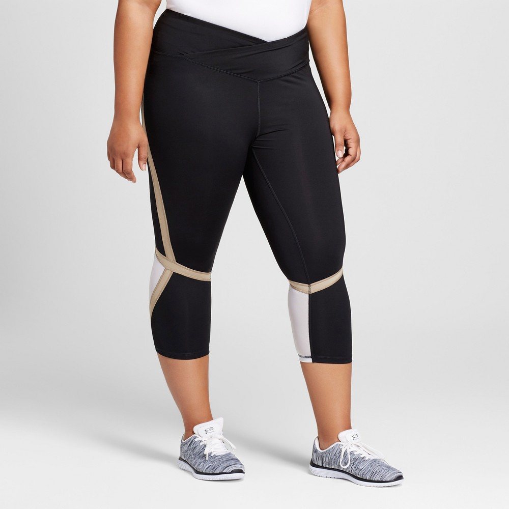 Womens Plus-Size Embrace High Waist Pieced Mesh Capri Leggings - C9 Champion Black/Khaki 2X, Black/White