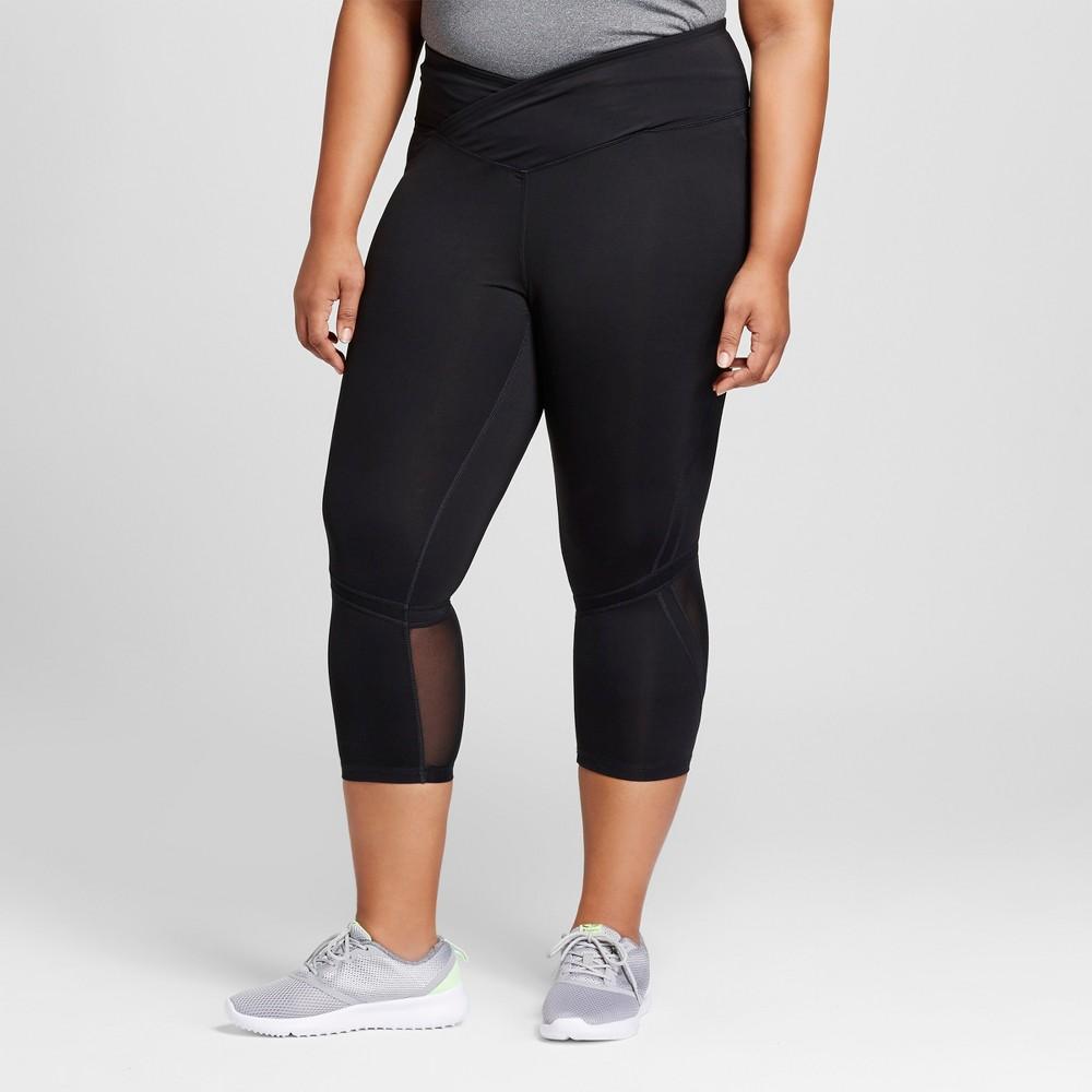 Womens Plus-Size Embrace High Waist Pieced Mesh Capri Leggings - C9 Champion Black 1X