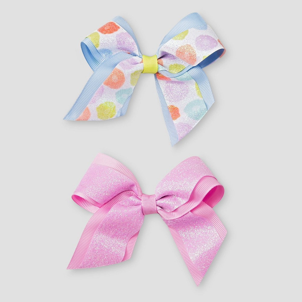Girls 2-Pack Bow Clips Cat & Jack, Multi-Colored