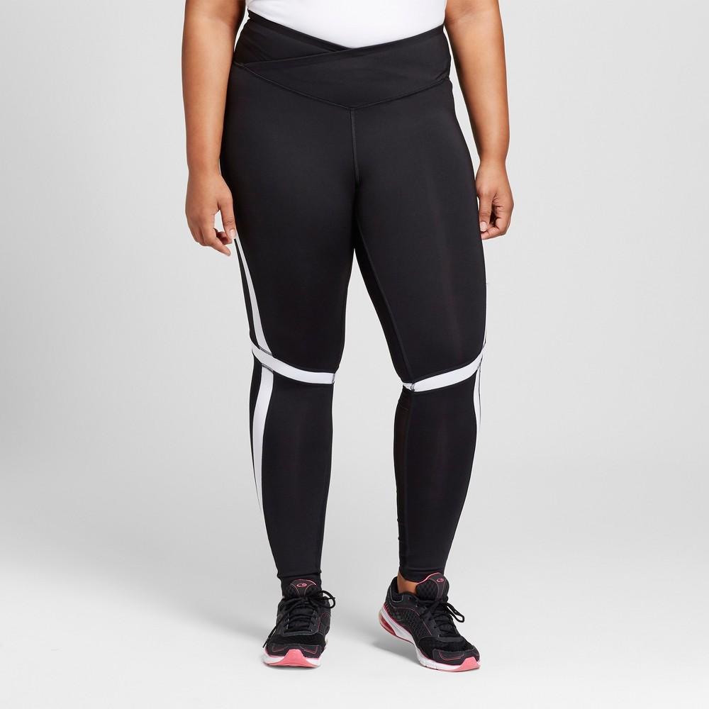 Womens Plus-Size Embrace Pieced Mesh Tights - C9 Champion Khaki Cire 1X, Black
