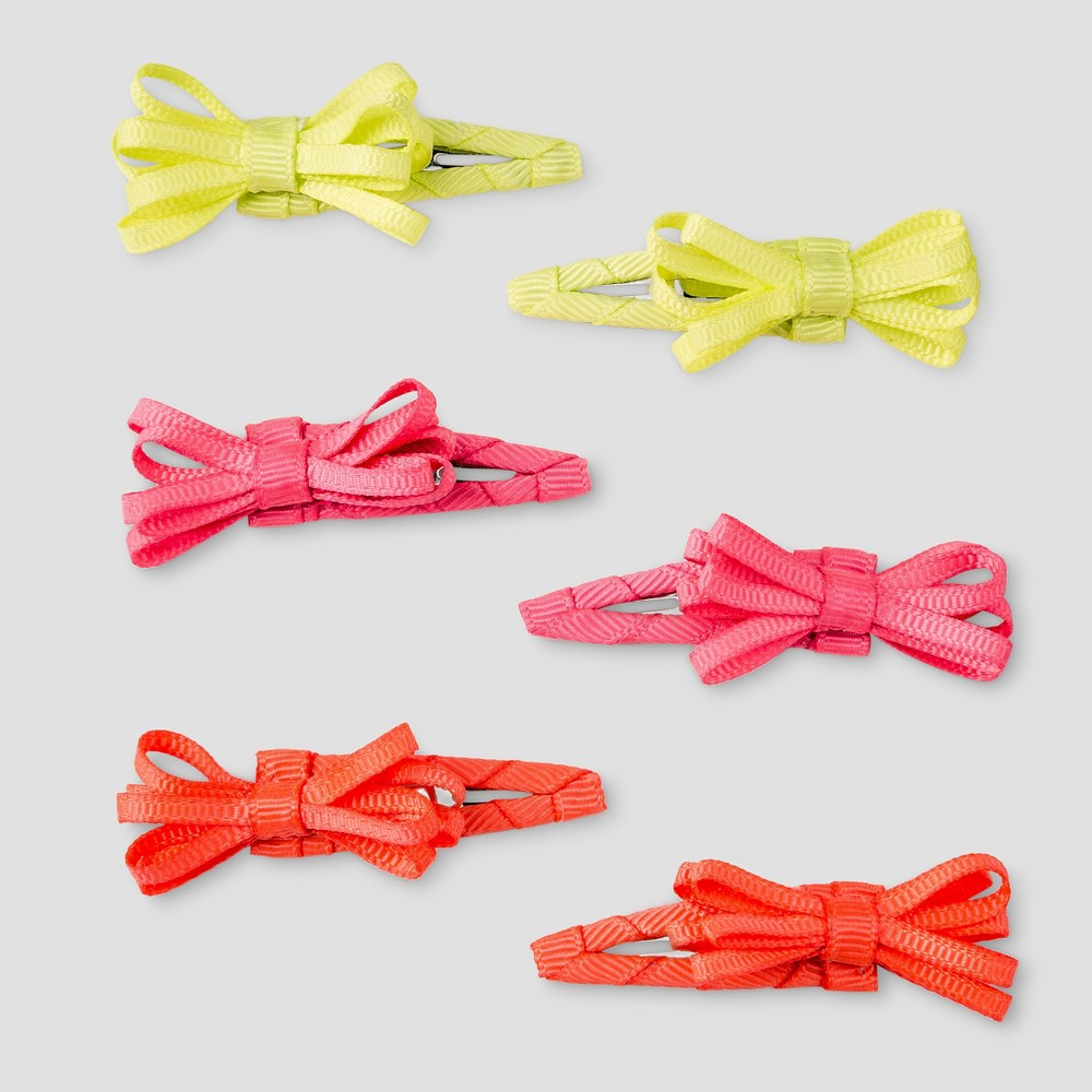 Girls 6-Pack Bow Barrettes Cat & Jack - One Size, Multi-Colored
