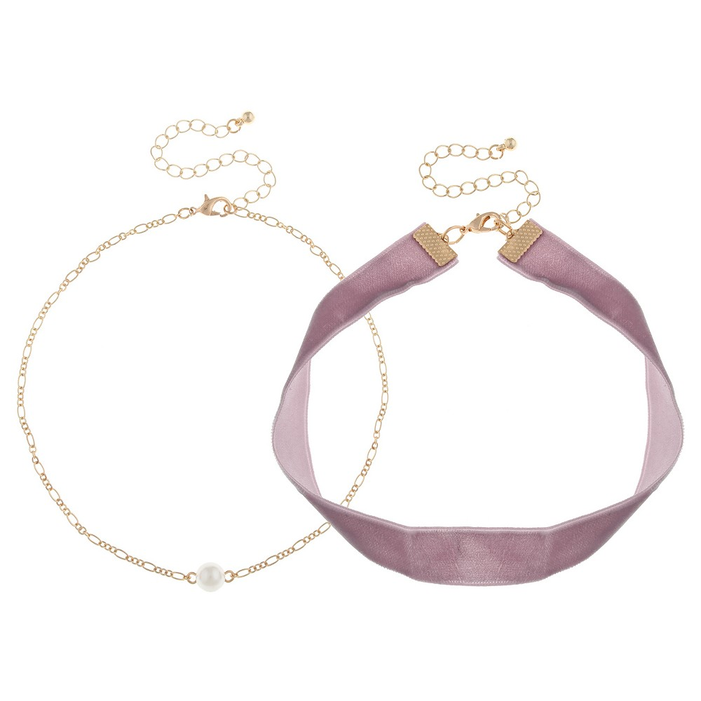 Womens Choker Set with Plastic Pearl- White, Mint