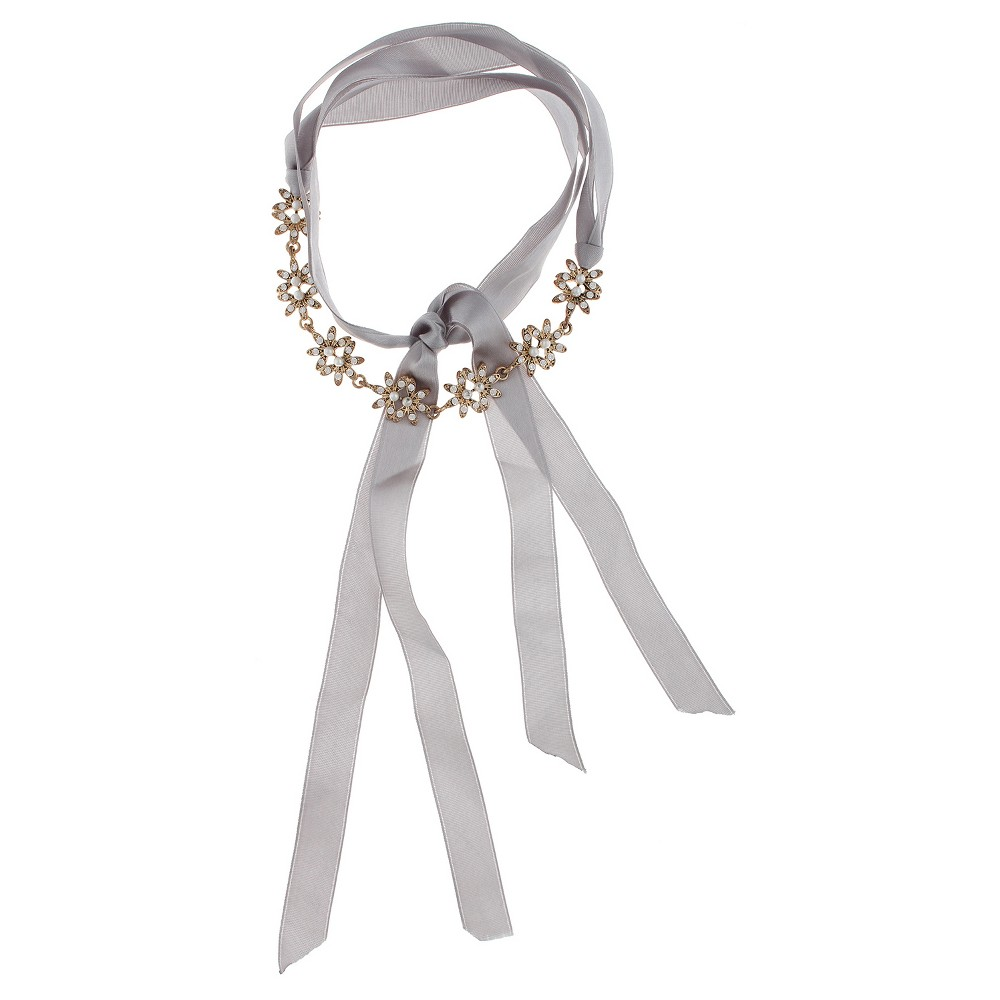 Womens Flower Choker with Pearl and Ribbon - Gray, Green