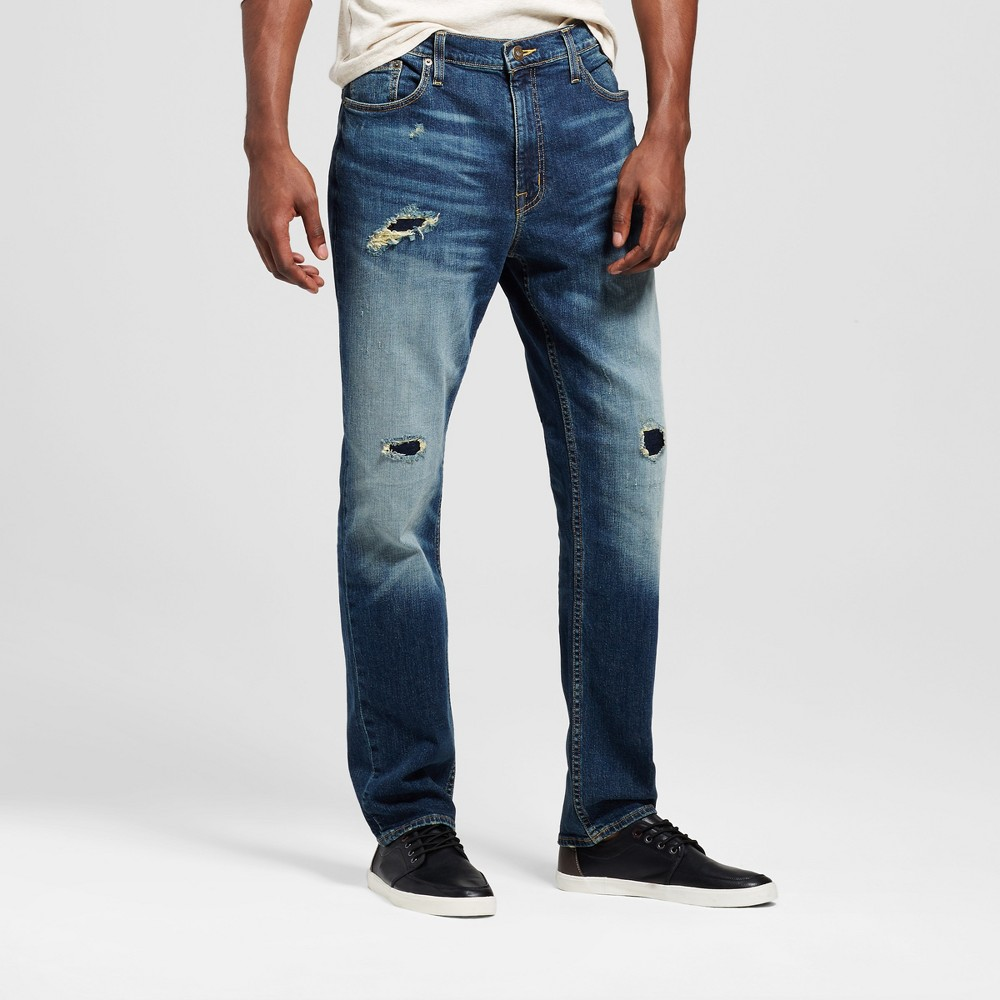 Mens Athletic Fit Jeans - Mossimo Supply Co. Destroy Dark Wash 33x32, Blue