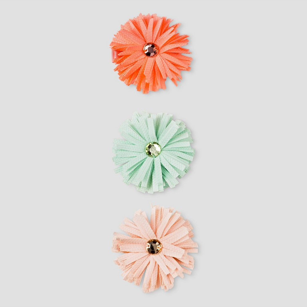 Girls 3pk Flower Pom Clips Cat & Jack - One Size, Multi-Colored