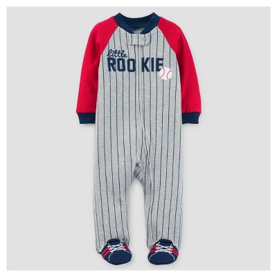 Baby Boys' Baseball Cotton Sleep N' Play - Just One You™ Made by Carter's® Red/Gray 6M