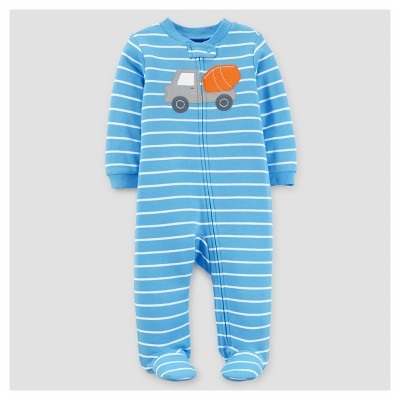 Baby Boys' Truck Cotton Sleep N' Play - Just One You™ Made by Carter's® Blue Stripe 3M
