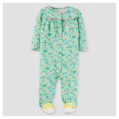 Baby Girls' Floral Cotton Sleep N' Play - Just One You™ Made by Carter's® Green/Yellow NB