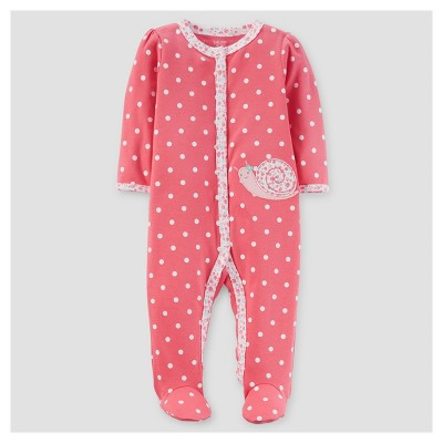 Baby Girls' Dot/Snail Dot/Snail Cotton Sleep N' Play - Just One You™ Made by Carter's® Coral 6M