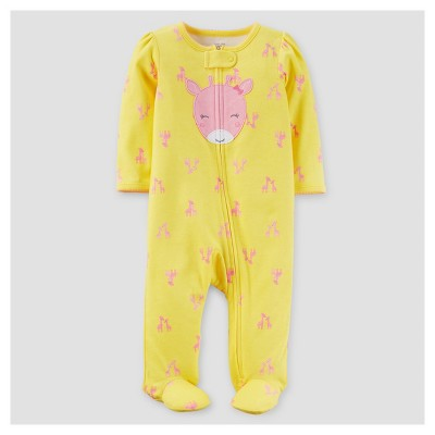 Baby Girls' Giraffe Cotton Sleep N' Play - Just One You™ Made by Carter's® Yellow/Pink NB