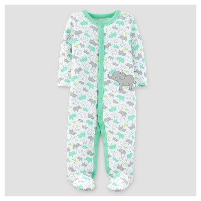 Baby Girls' Elephant Cotton Sleep N' Play - Just One You™ Made by Carter's® White/Aqua 9M